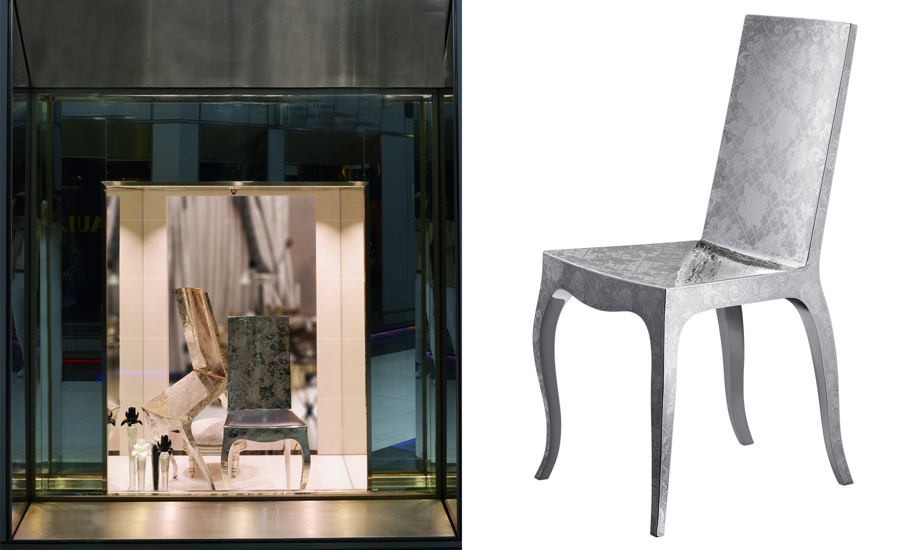 Great The Designeru0027s Now Famous Floral Motifs Creep Up A Chair In Engraved Steel,  Which Also Comes With A Leather Seat Available In Various Colors.